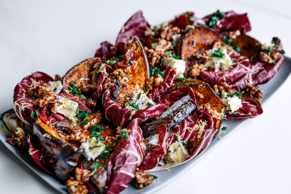 Roasted Pumpkin with Radicchio, Honey Toasted Walnuts & Warm Honey Dressing  |  Gather & Feast