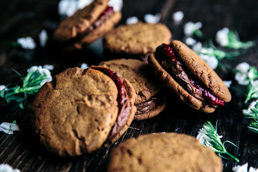 Vanilla Spelt Cookies with Avocado Chocolate Filling & Berry Chia Jam  |  Gather & Feast