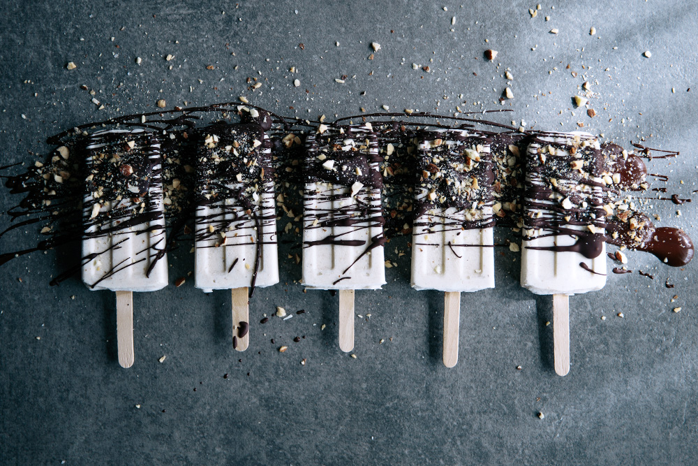Banana & Vanilla Pops with Salted Dark Chocolate & Crushed Roasted Almonds  |  Gather & Feast