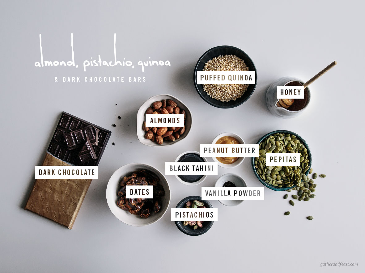 Almond, Pistachio & Quinoa Dark Chocolate Bars  |  Gather & Feast