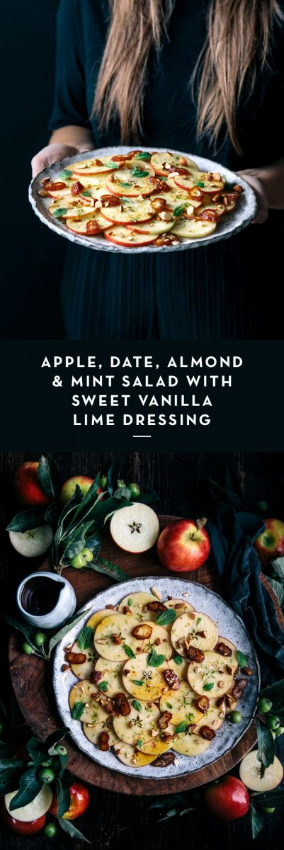 Apple, Date, Almond & Mint Salad with Sweet Vanilla Lime Dressing  |  Gather & Feast