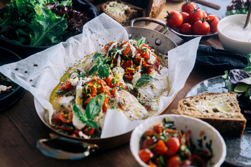 Baked Rockling with Tomato Basil & Lemon Salsa with Creamy Cashew Aioli  |  Gather & Feast