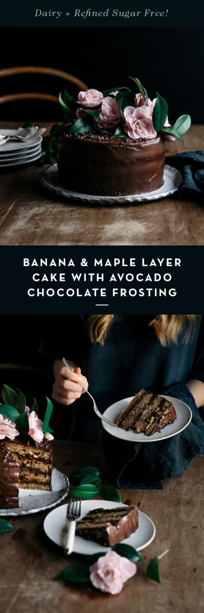 Banana & Maple Layer Cake with Avocado Chocolate Frosting  |  Gather & Feast