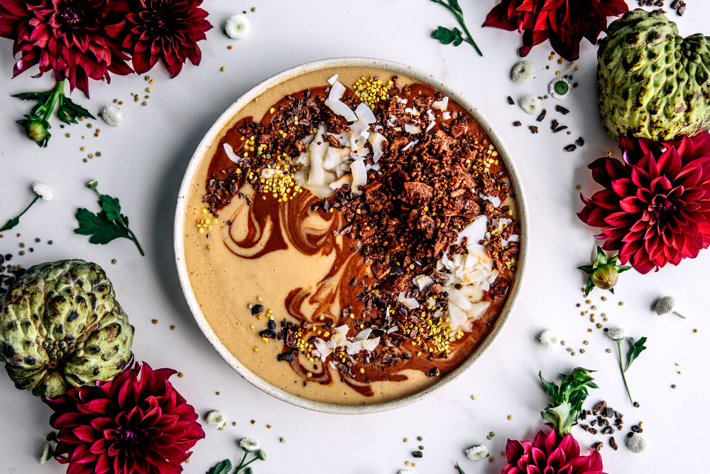 Cacao & Custard Apple Smoothie Bowl with Cacao Quinoa Granola  |  Gather & Feast
