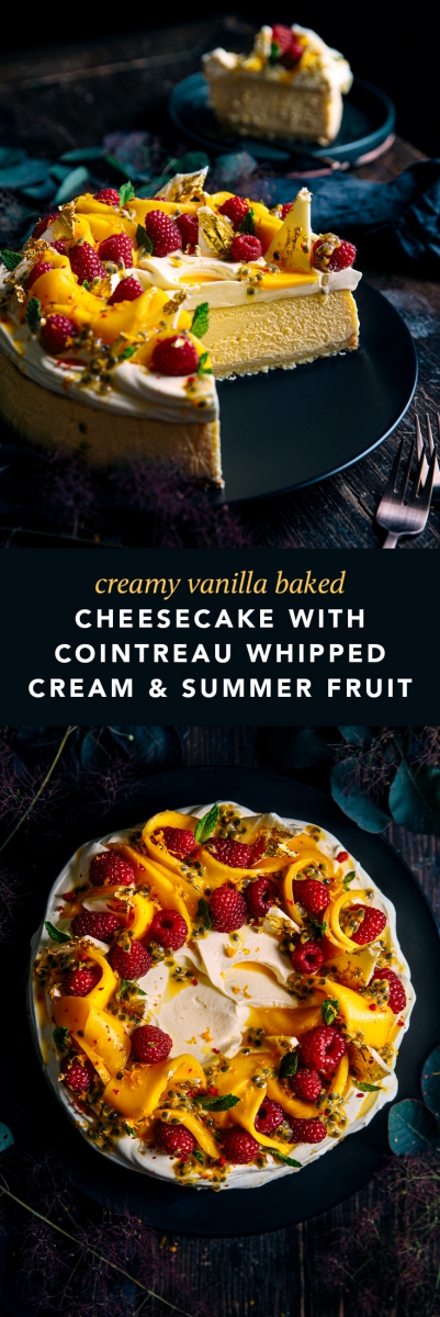 Creamy Vanilla Baked Cheesecake with Cointreau Whipped Cream & Fresh Summer Fruit  |  Gather & Feast