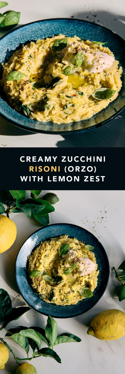 Creamy Zucchini Risoni (Orzo) with Lemon & Fresh Mozzarella  |  Gather & Feast