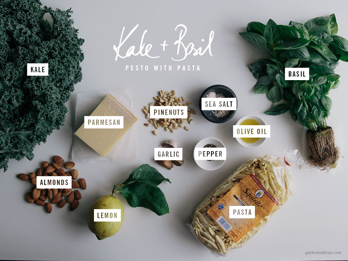 Kale & Basil Pesto with Pasta  |  Gather & Feast