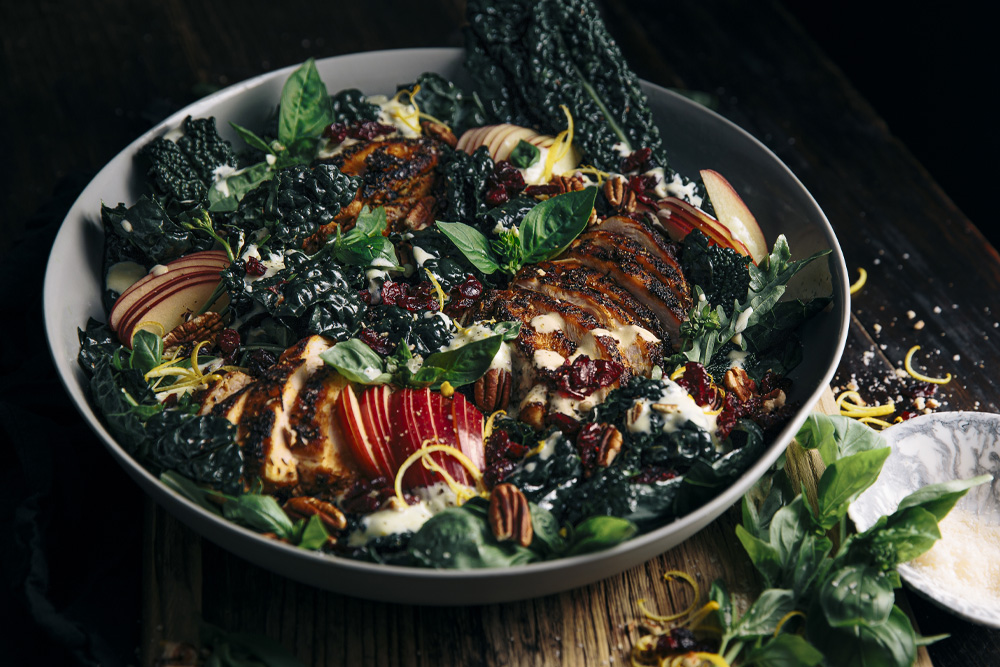 Kale, Apple & Craisins Dried Cranberries Salad with Smokey Chicken & Creamy Garlic Yoghurt Dressing  |  Gather & Feast