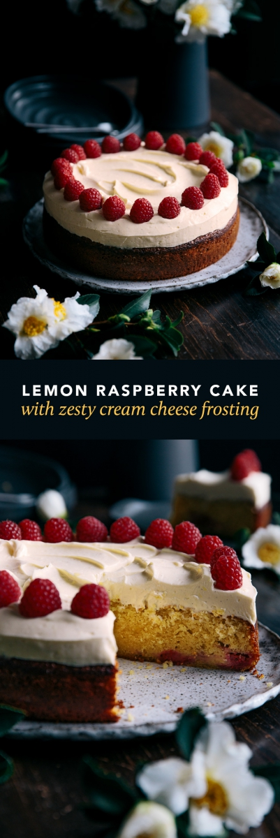Lemon Raspberry Cake with Zesty Cream Cheese Frosting  |  Gather & Feast