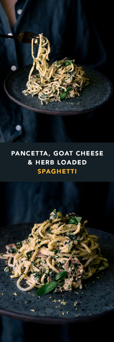 Pancetta, Goat Cheese & Herb Loaded Spaghetti  |  Gather & Feast