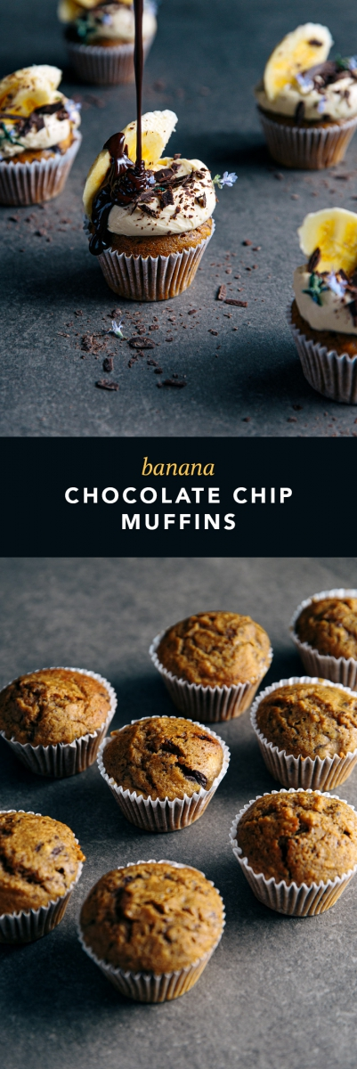 Banana Chocolate Chip Muffins  |  Gather & Feast