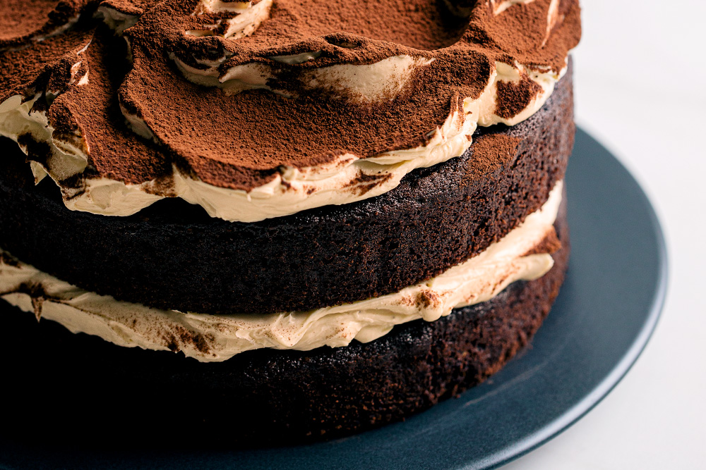 Rich Chocolate Layer Cake with Baileys Cream Cheese Frosting  |  Gather & Feast