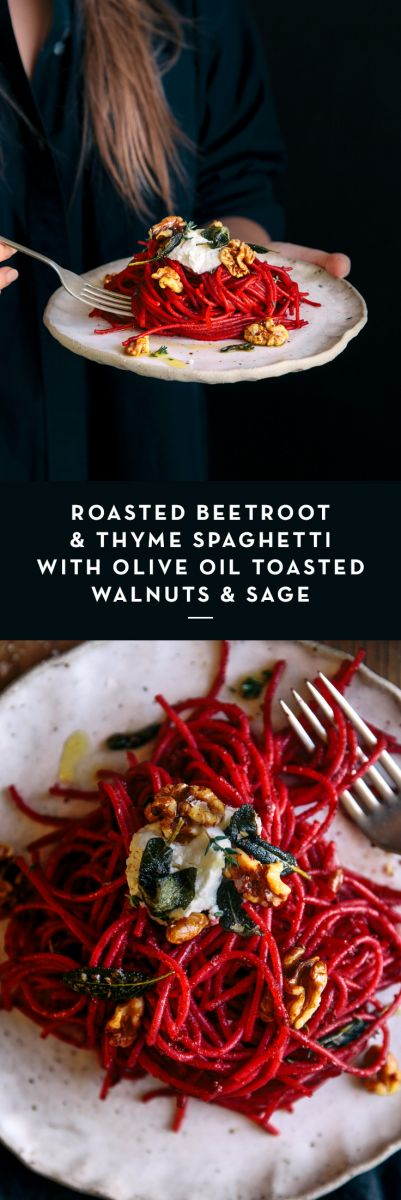 Roasted Beetroot & Thyme Spaghetti with Olive Oil Toasted Walnuts & Sage  |  Gather & Feast