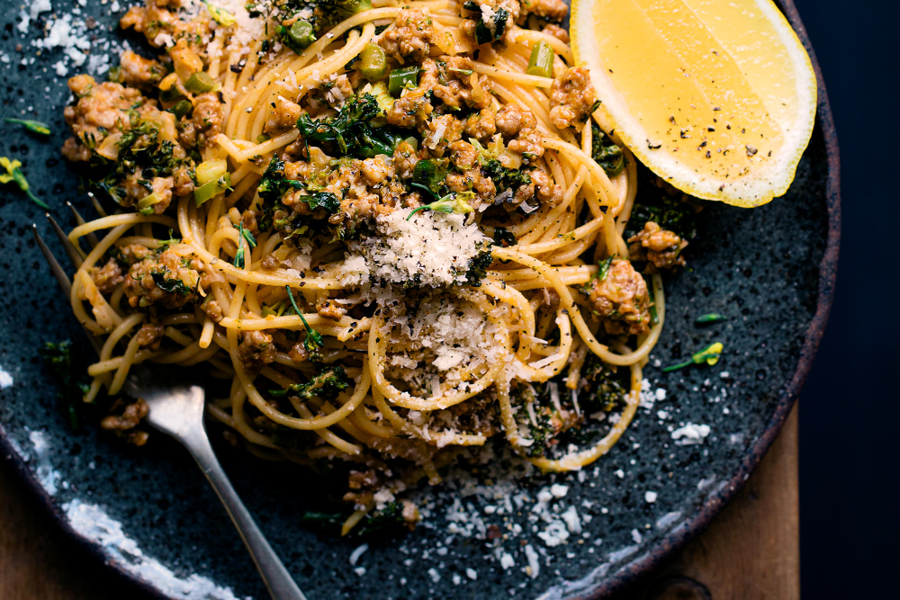 Spaghetti with Broccoli, Pork & Fennel  |  Gather & Feast