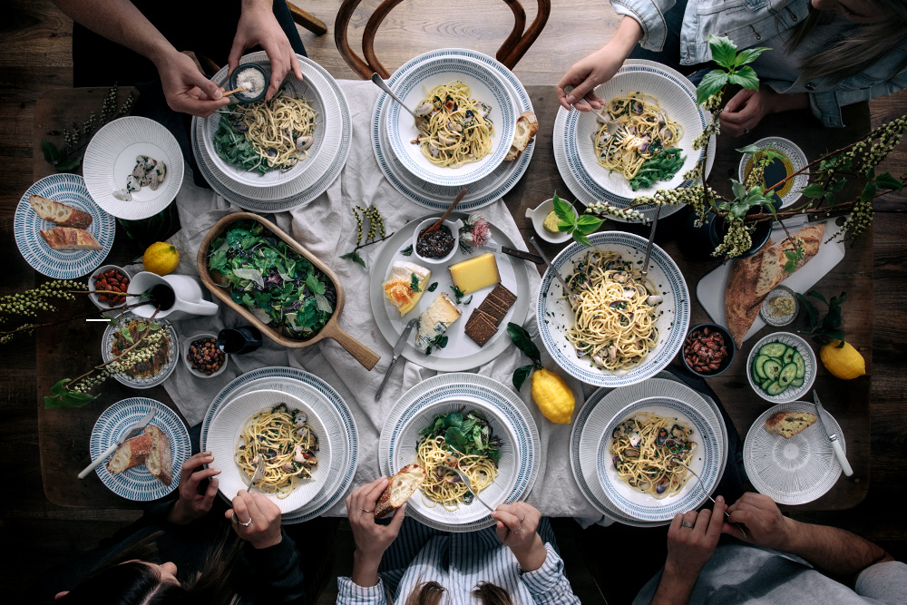 Spaghetti with Fresh Clams, Chili & Roasted Almonds  |  Gather & Feast