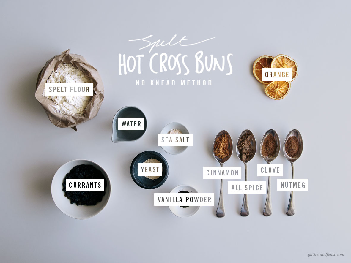 Spelt Hot Cross Buns (No Knead Method)  |  Gather & Feast