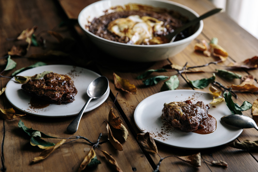Spiced Date & Caramel Vegan Self Saucing Pudding  |  Gather & Feast