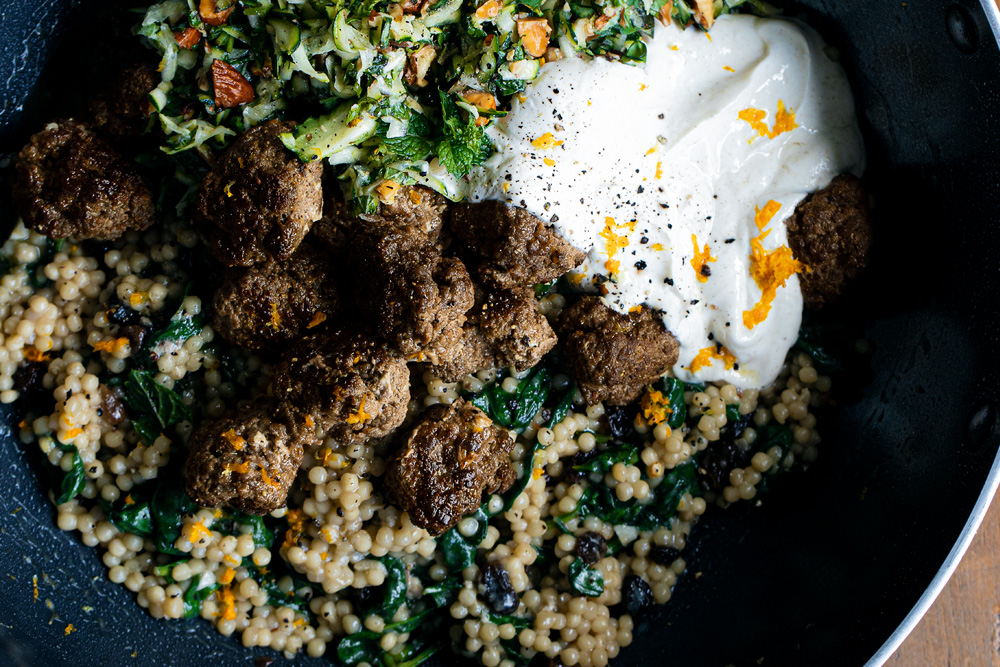 Spiced Meatballs with Pearl (Israeli) Couscous, a Fresh Zucchini Roasted Almond Salad, & Honeyed Yoghurt  |  Gather & Feast