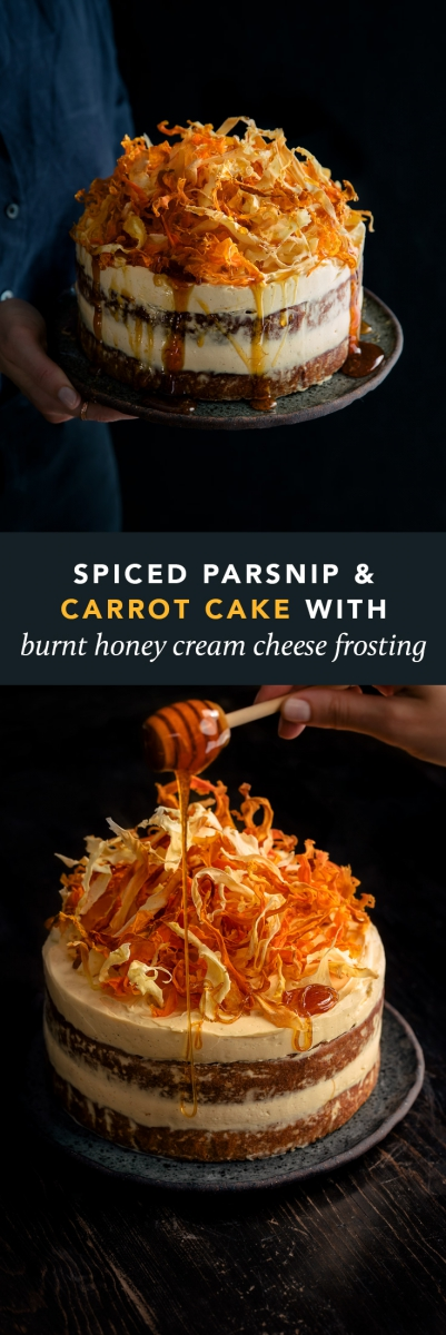 Spiced Parsnip & Carrot Cake with Burnt Honey Cream Cheese Frosting & Root Vegetable Chips  |  Gather & Feast