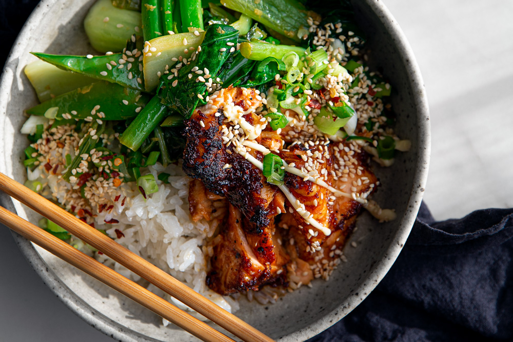 Teriyaki Salmon Bowls with Ginger Sesame Greens & Coconut Rice  |  Gather & Feast