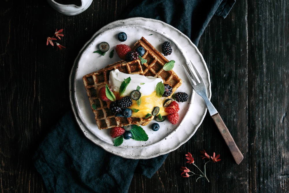 Vanilla Buckwheat Waffles with Lemon Curd, Fresh Berries & Mint  |  Gather & Feast