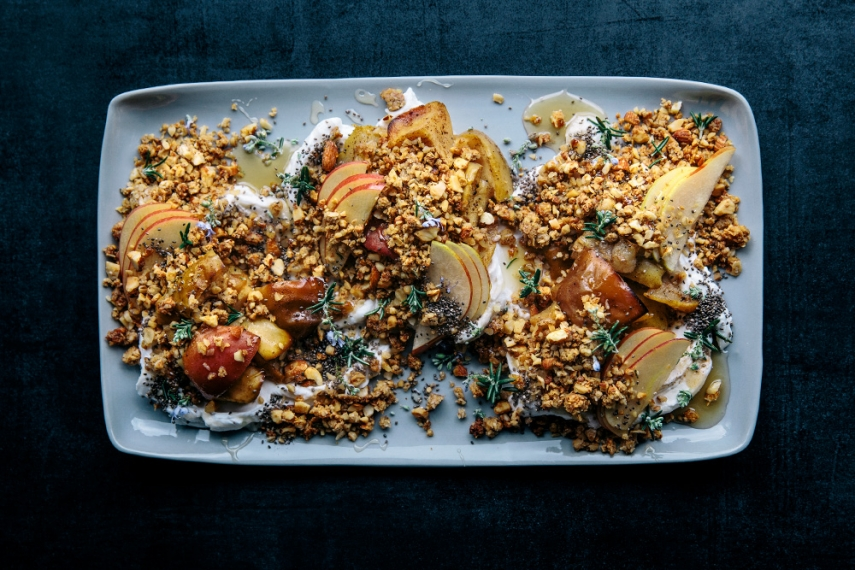 Honey+%26+Rosemary+Granola+with+Spiced+Baked+Apples+%26+Pears++%7C++Gather+%26+Feast