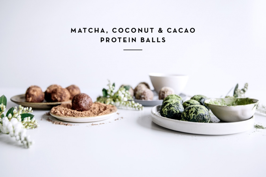 Matcha%2C+Coconut+%26+Cacao+Protein+Balls++%7C++Gather+%26+Feast