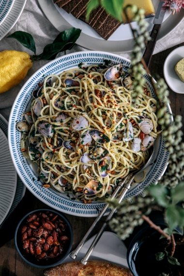 Spaghetti+with+Fresh+Clams%2C+Chili+%26+Roasted+Almonds++%7C++Gather+%26+Feast