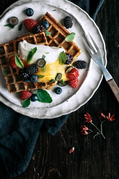 Vanilla+Buckwheat+Waffles+with+Lemon+Curd%2C+Fresh+Berries+%26+Mint++%7C++Gather+%26+Feast