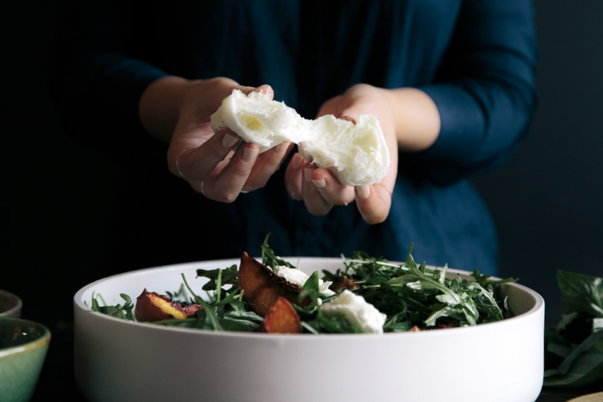 Roasted+Peach%2C+Basil+%26+Buffalo+Mozzarella+Salad++%7C++Gather+%26+Feast