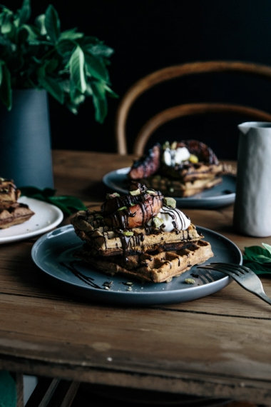 Vanilla+Buckwheat+Waffles+with+Caramalised+Peaches%2C+Dark+Chocolate+%26+Pistachios++%7C++Gather+%26+Feast