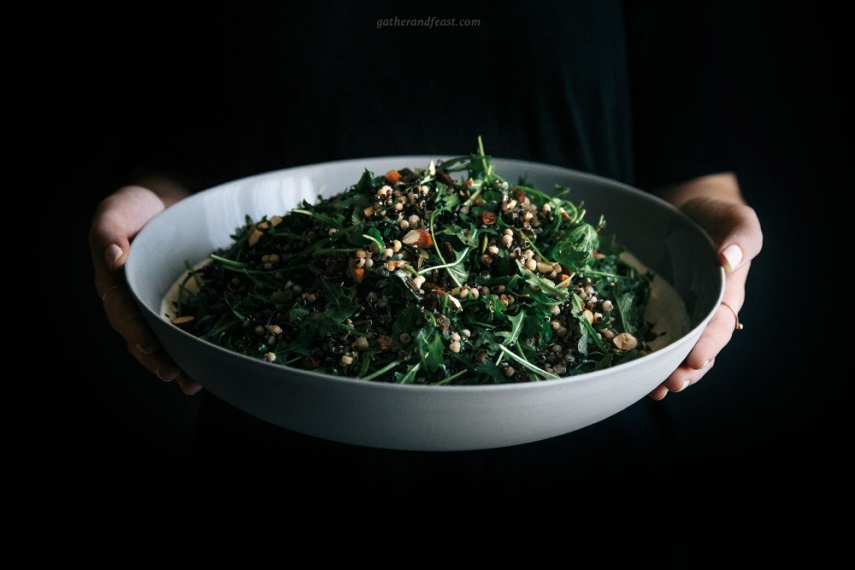 Wild+Rice+%26+Rocket+Salad+with+Chai+Soaked+Raisins++%7C++Gather+%26+Feast