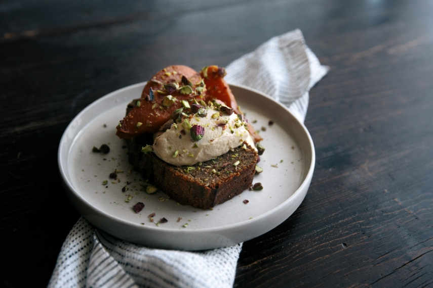 Buckwheat+Banana+Bread+with+Poached+Quinces+%26+Mascarpone++%7C++Gather+%26+Feast