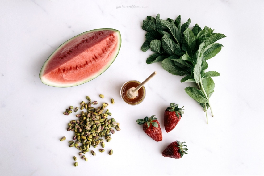 Watermelon+%26+Strawberries+with+Pistachios%2C+Honey+%26+Mint++%7C++Gather+%26+Feast